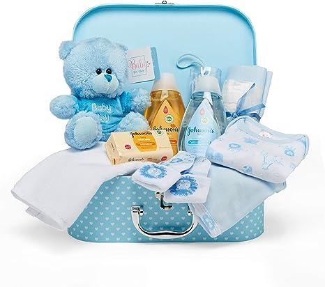 Baby Box Shop - Cesta regalo bebé niño para baby shower con todo lo esencial para bebes recién nacidos con osito de peluche y caja de recuerdos azul: Amazon.es: Bebé