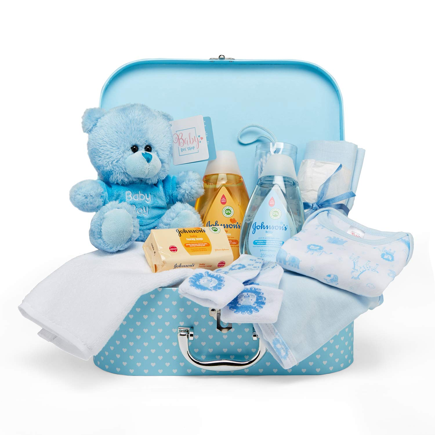 Amazon.com : Baby Gift Set – Keepsake Box in Blue with Baby Clothes, Teddy  Bear and Gifts for a Baby Boy : Baby