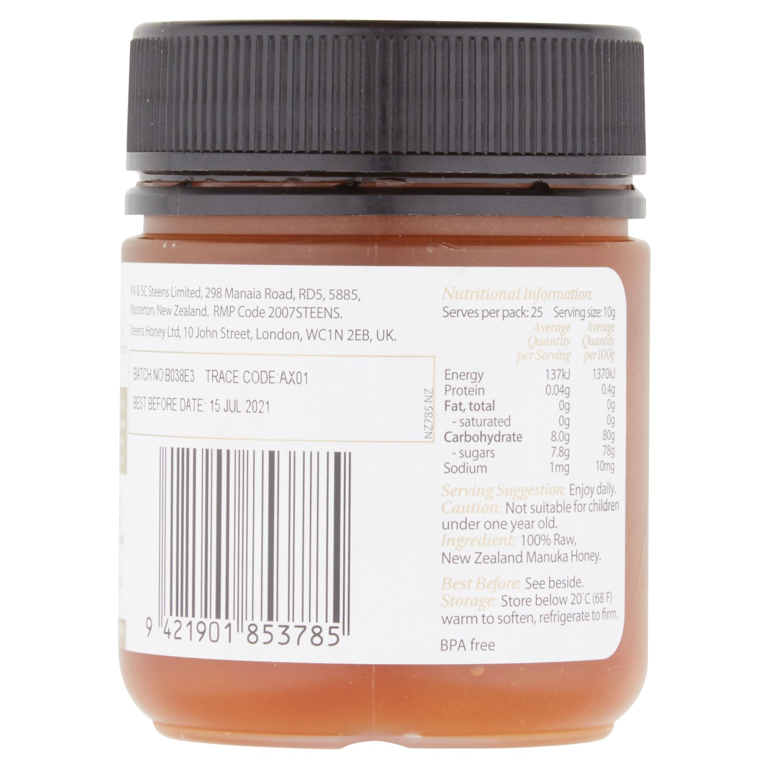 Steens UMF 24 Manuka Honey (MGO 1122) 8.8 Ounce jar with box | Raw Unpasteurized Honey From New Zealand | Traceability Code on Each Label by Steens (Image #3)