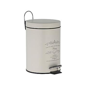 Treteimer 3 Liter In Altweiß Mülleimer Als Abfalleimer, Kosmetikeimer Für  Badezimmer + Küche Aus Metall