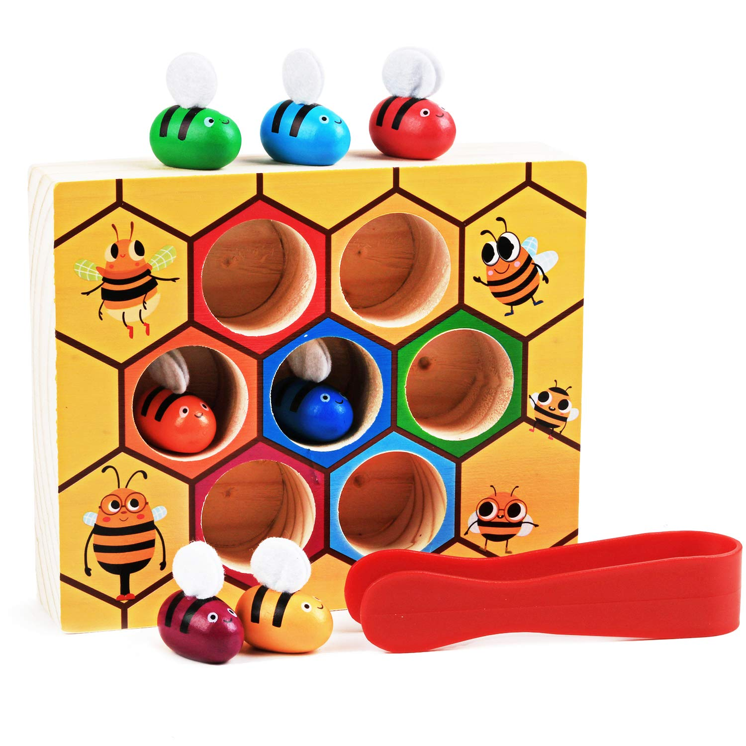 Fansport Toddler Baby Bee Hive Preschool Wooden Toys,Bee Toy,Motor Skills Toys for Toddlers for Baby Early Educational Toddler Montessori Game Motor Skills Toy