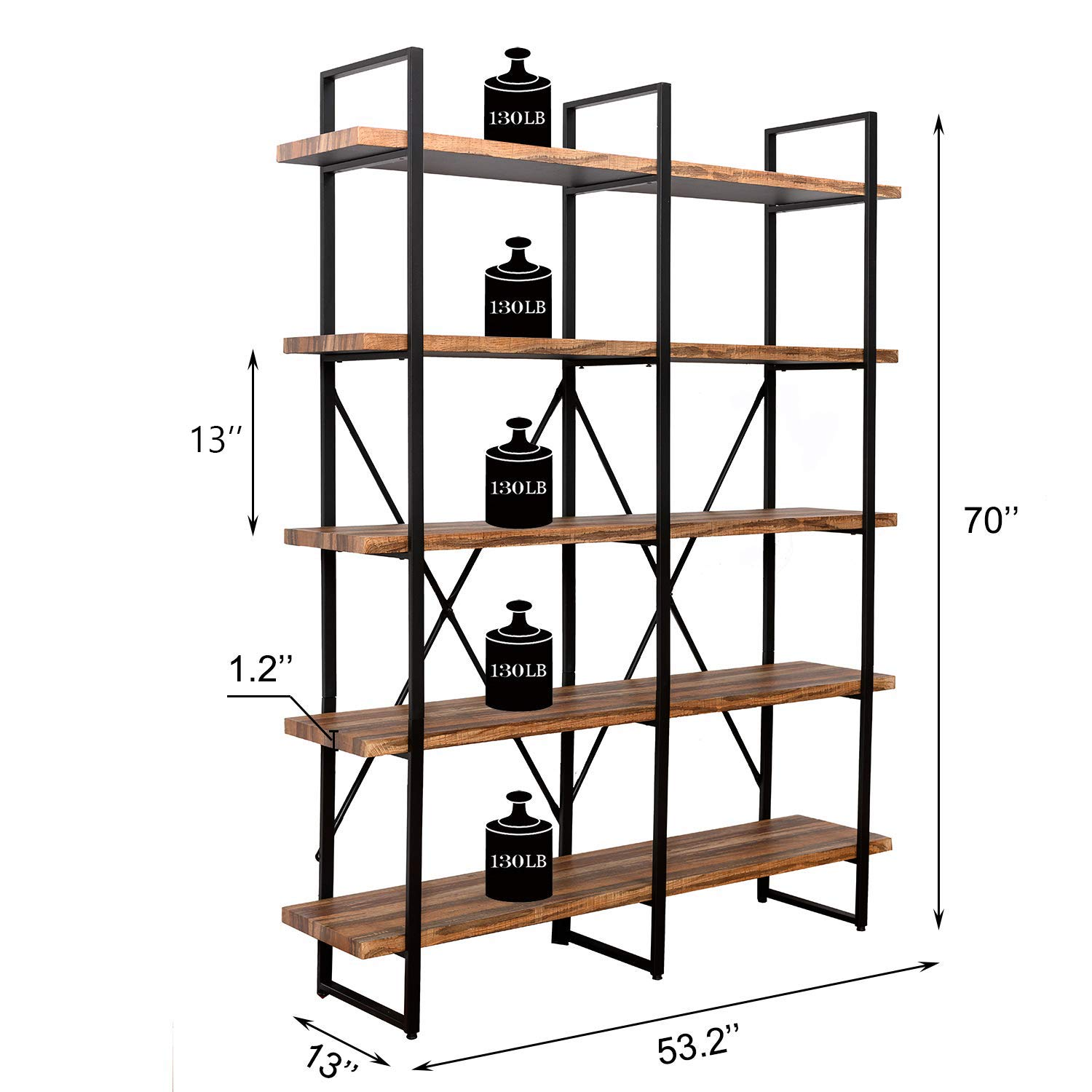 IRONCK Bookshelf, Double Wide 5-Tier Open Bookcase Vintage Industrial Large Shelves, Wood and Metal Etagere Bookshelves, for Home Decor Display, Office Furniture by IRONCK (Image #3)