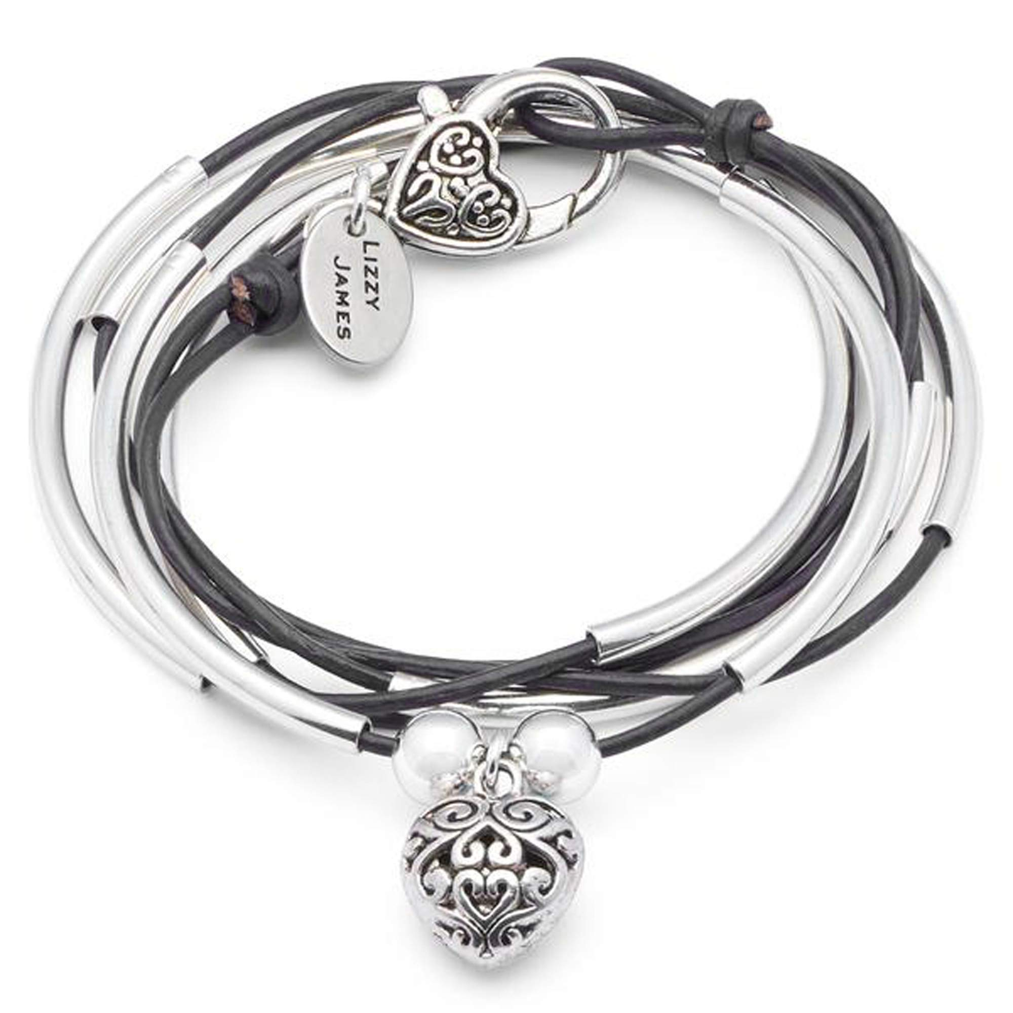 Lizzy James Girlfriend Silver Charm Bracelet Necklace w Puffed Heart Charm in Natural Black Leather (Medium)