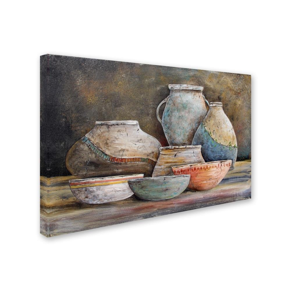 Clay Pottery Still Life 1 by Jean Plout, 16×24-Inch Canvas Wall Art