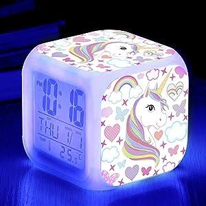 Kandice Unicorn Alarm Clocks for girs,7-in-1 Night Light Kids Alarm Clocks with LED Glowing Bedroom Wake Up Alarm Clock Gifts for Unicorn Room Decor for Girls Bedroom (White)
