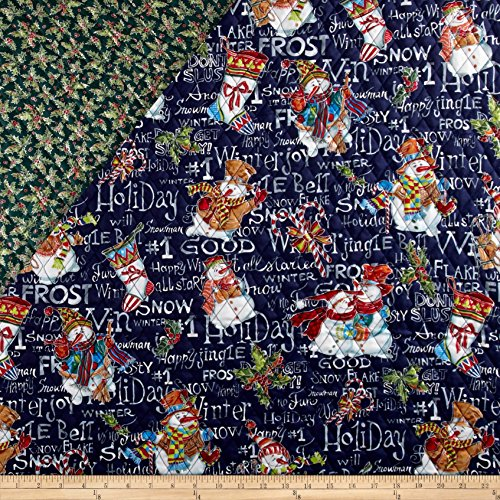 - Fabri-Quilt Snowman Christmas Double Face Quilted Fabric by The Yard, Black