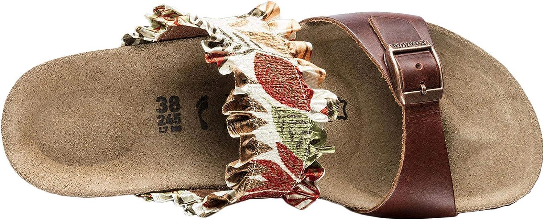 Papillio Femme Della Stretch/Natural Leather des Sandales Flower Frill Brown