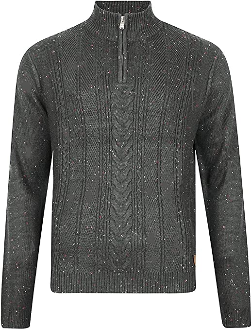 TALLA XL. Hombres Threadbare Texturado 1/4 Zip Cuello Saltador Suéter Parte superior Pull-over Suave HALTON
