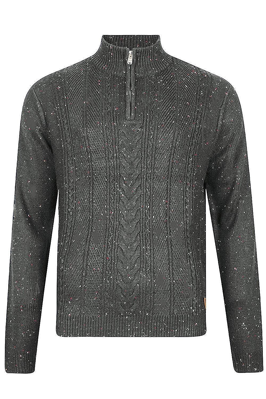 Hombres Threadbare Texturado 1/4 Zip Cuello Saltador Suéter Parte superior Pull-over Suave HALTON