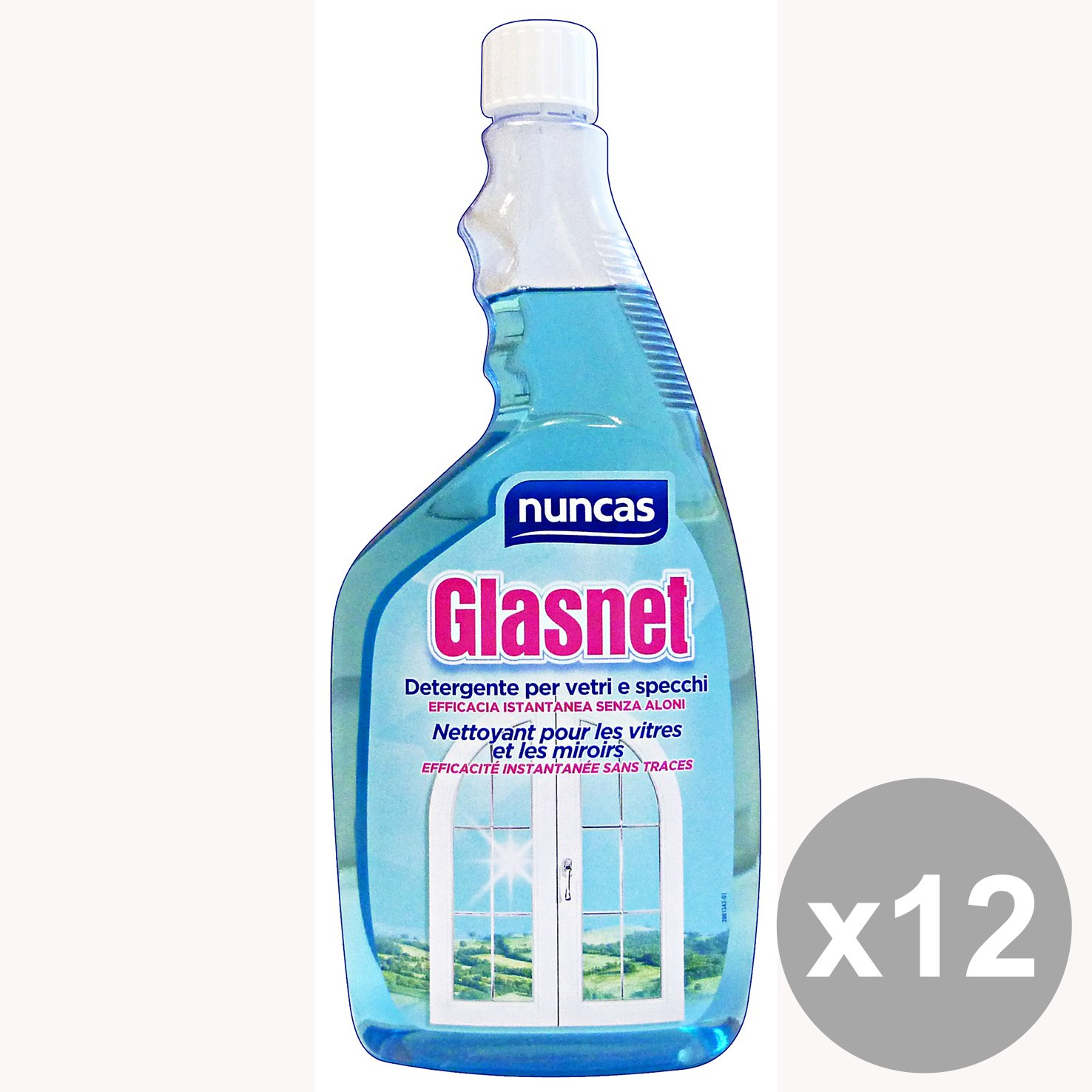 NUNCAS Set 12 Glasnet Verglasungs Reload 750 Ml. Hausputz