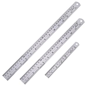 eBoot Stainless Steel Ruler Metal Ruler with Conversion Table, 15 Inch, 12 Inch and 6 Inch
