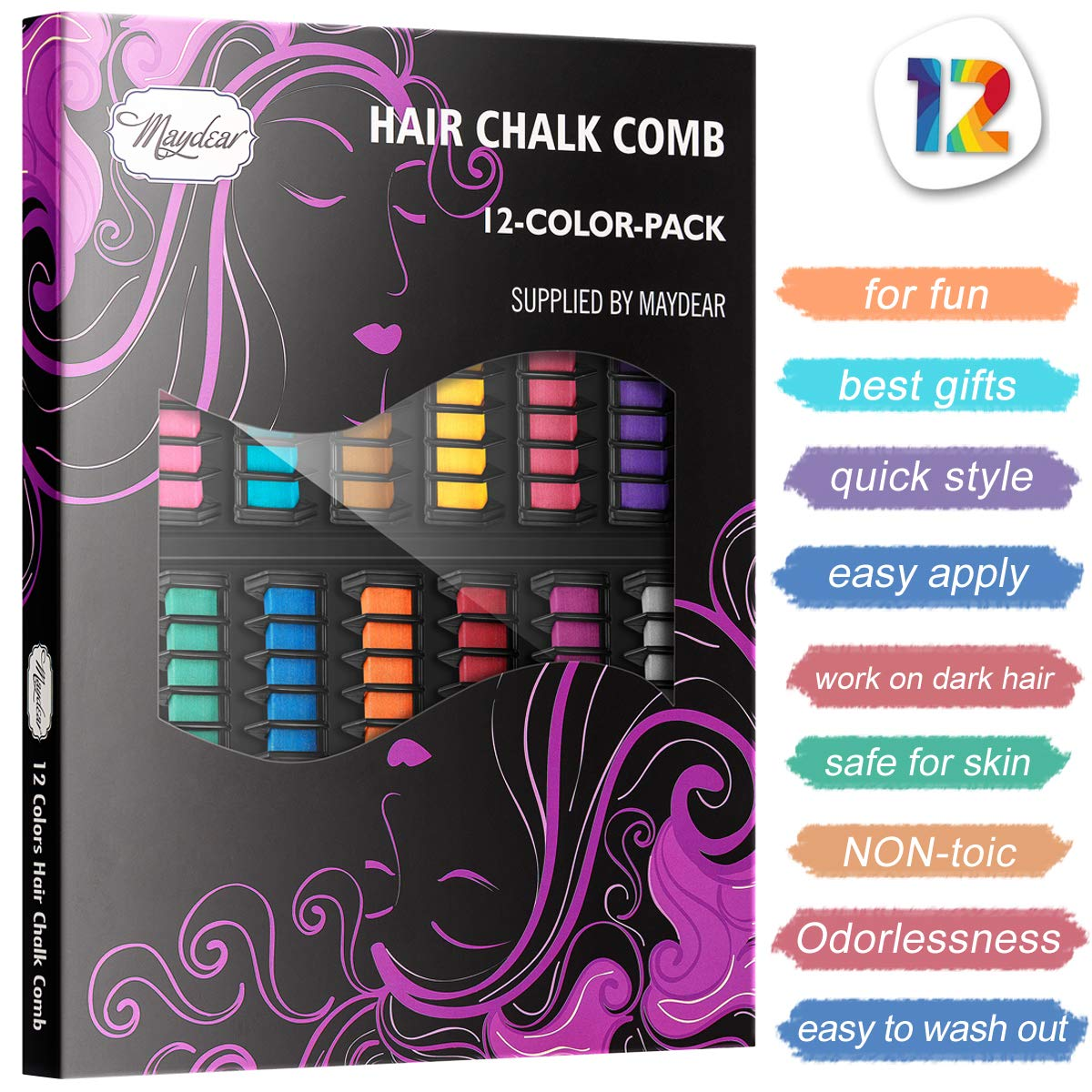 Maydear Temporary Hair Color Hair Dye Hair Chalk Comb with Bright Colors - Popular and Economy Pack (Max Colors) by Maydear