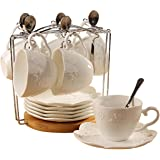 Jusalpha white China Tea Cup and Saucer Coffee Cup Set with Saucer and Spoon, Set of 6 (6 Tea Cup Set With Bracket)
