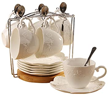Jusalpha Porcelain Tea Cup and Saucer Coffee Cup Set with Saucer and Spoon, Set of 6 (6 Tea Cup Set With Bracket)