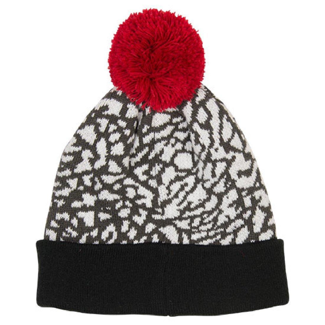Amazon.com  Boy s Jordan 5 Pom Beanie Hat 8 20 White Gym Red  Sports    Outdoors 4288c329b34a