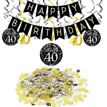SIMUER 40 cumpleaños Negro Colgar Remolino decoración de ...
