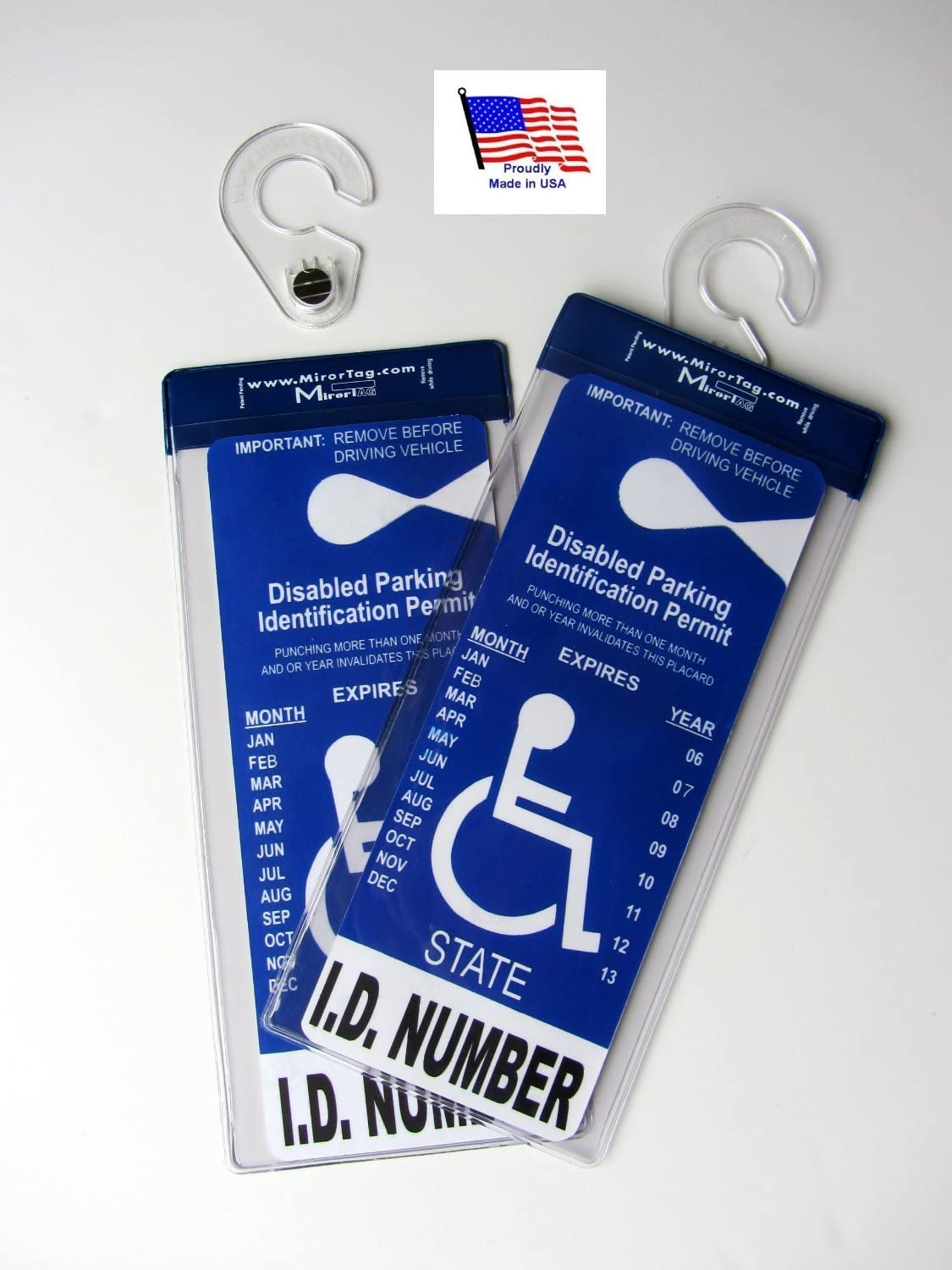 """2 MirorTag Silver by JL Safety - Easily Display & Put Away a Handicapped Parking Placard. Strong Hook high Heat Rated. Magnetically snap The Holder On & Off. Post Diameter 1"""". 2 Included. Made in USA"""