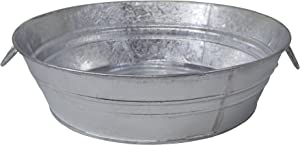 Behrens 105LFT 3 Gallon Hot Dipped Steel Low Flat Tub, Silver