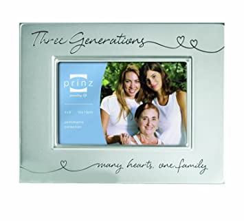 prinz 6 by 4 inch three generations silver metal frame