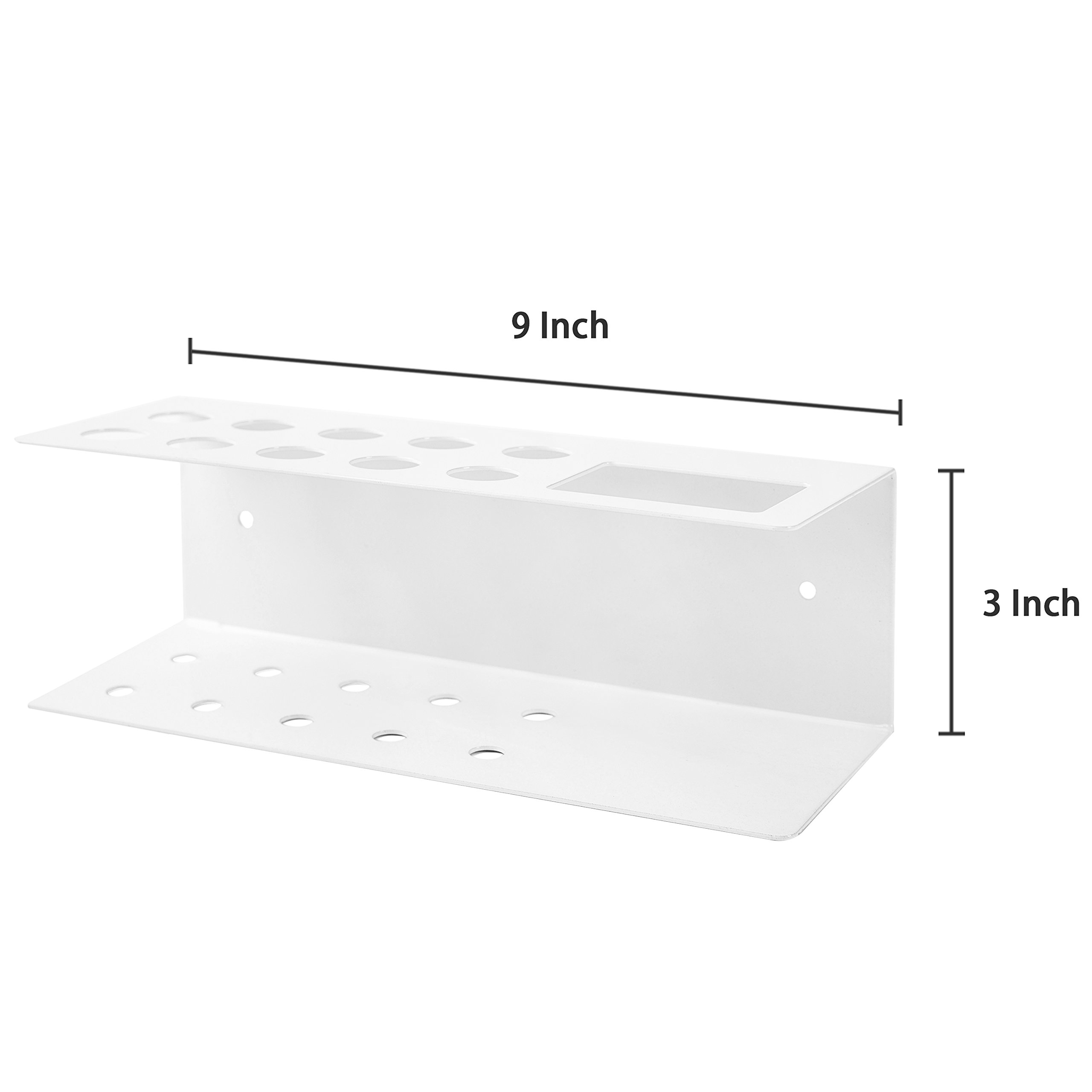 10-Slot Wall-Mounted Metal Dry Erase Marker and Eraser Holder Rack, White by MyGift (Image #6)