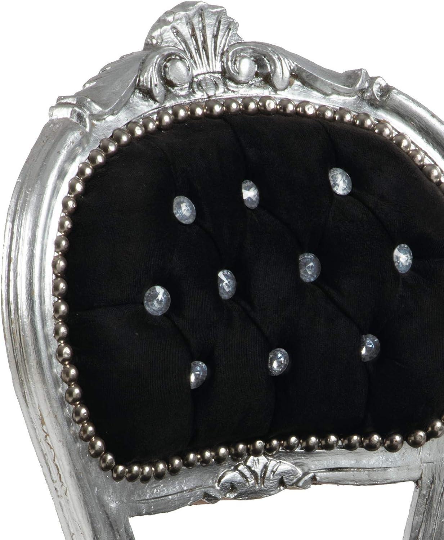 Poltroncina Barocco Stile Luigi XIV/° in Mogano Foglia Argento e Velluto di Lino Vello Alto Schienale con capiton/è 4 Pieghe con Bottoni in Cristallo sfaccettati