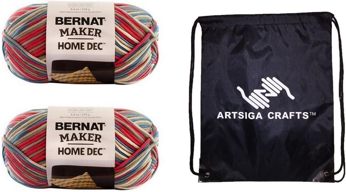 Bernat Knitting Yarn Maker Home Dec Nautical Variegate 2-Skein Factory Pack (Same Dyelot) 161211-11016 Bundle with 1 Artsiga Crafts Project Bag