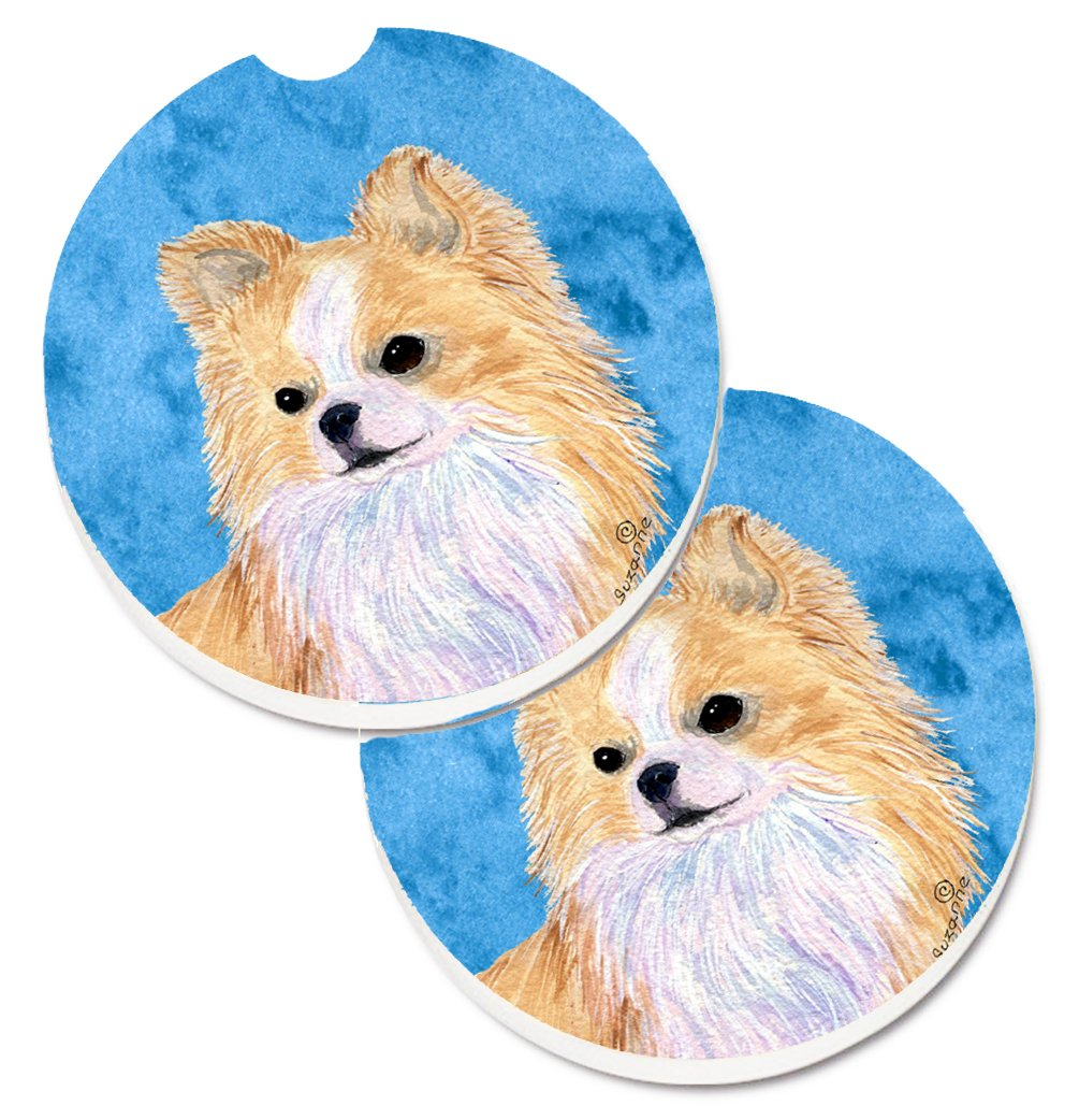 2.56 Carolines Treasures Blue Longhaired Chihuahua Set of 2 Cup Holder Car Coasters SS4750-BUCARC Multicolor