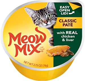 Meow Mix Classic Paté Wet Cat Food, Chicken and Liver, 2.75 Ounce Cup (Pack of 12)