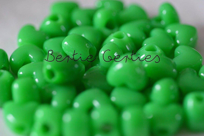 50 x Neon Green Opaque Heart Pony Beads 13mm