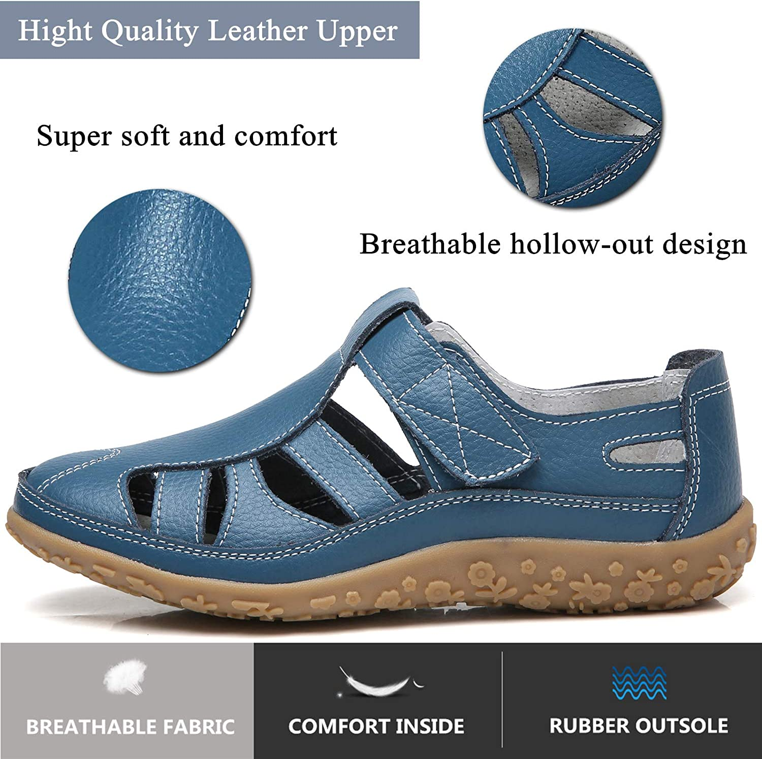 YOOEEN Womens Soft Leather Loafers Moccasins Summer Hollow Out Casual Flat Shoes Breathable Closed Toe Sandals