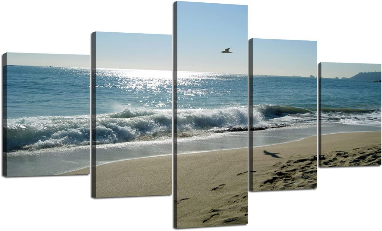 Beach Wave Ocean Painting on Canvas 5 Piece Combination Wall Art Modern Landscape Scenery Posters and Prints Pictures for Living Room Bedroom Gallery-wrapped Canvas Art Set Framed (70''W x 40''H)