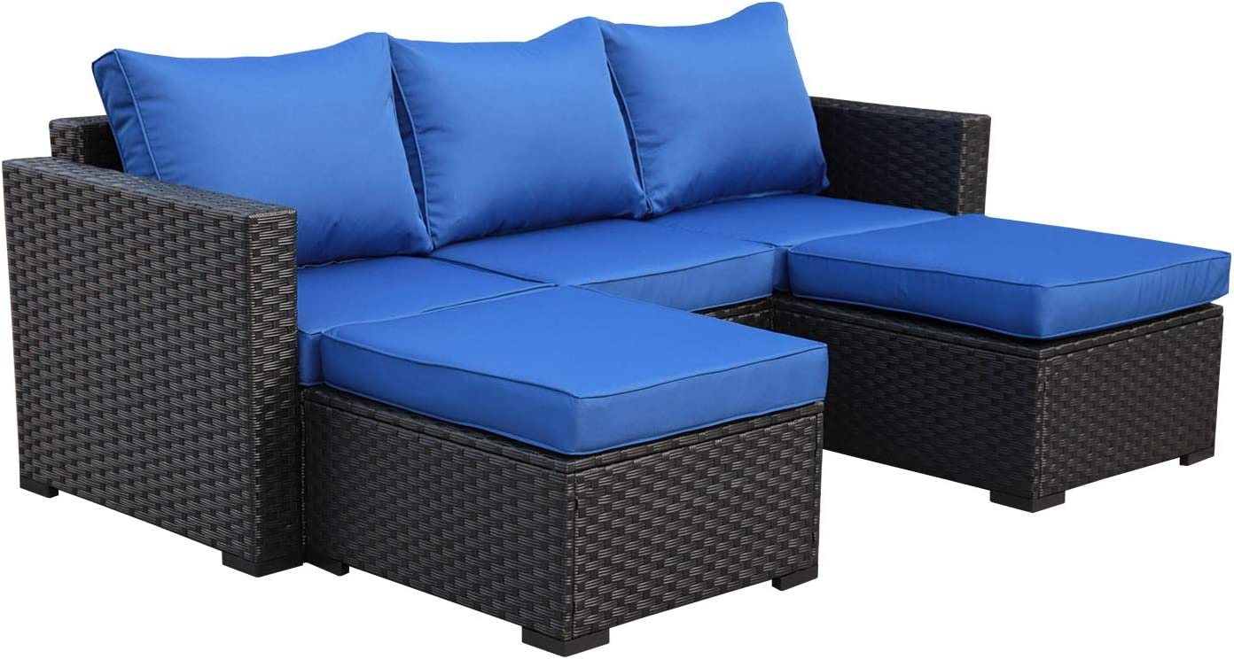 Outdoor PE Wicker Sofa Set - 3 Piece Patio Rattan Garden Conversation Couch Furniture with Royal Blue Cushion