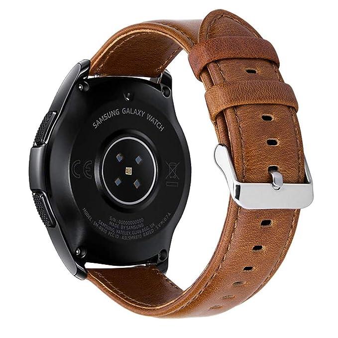 MroTech Correa Ticwatch E 20mm Pulsera de Cuero Piel compatible para Samsung Galaxy Watch 42mm/ Gear Sport/ Amazfit Bip/ Garmin Vivoactive 3/ Huawei ...