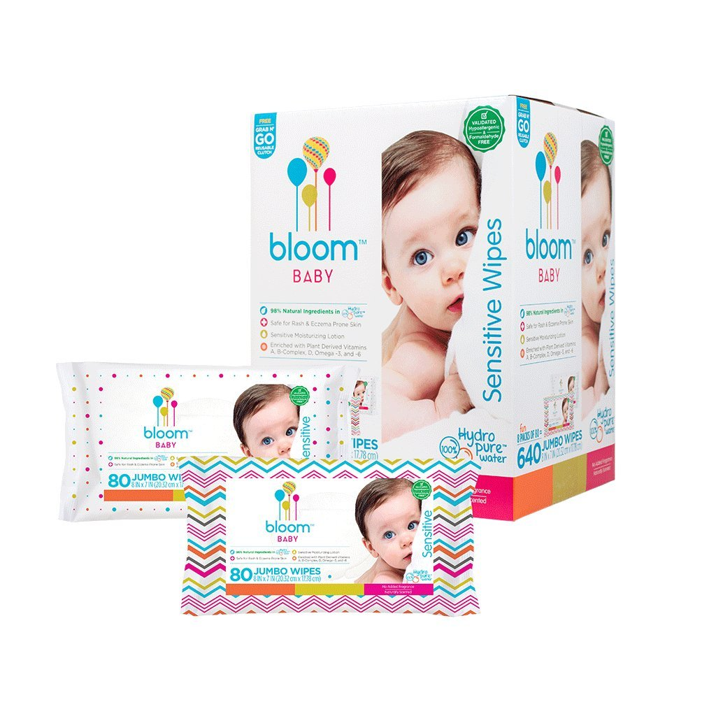 Baby Wipes by bloom BABY | Unscented | For Sensitive Skin | Formulated for Diaper Area | Water-Based | Infused with Plant-Derived Vitamins | Hypoallergenic | Textured & Thick 8''x7'' Wipes | 640 Count by bloom +KIND