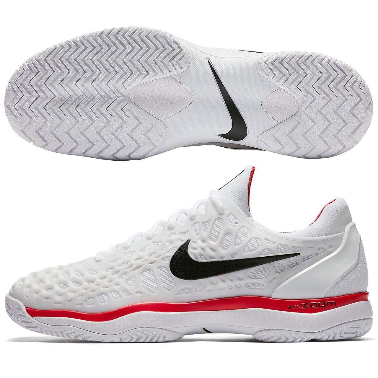 Amazon.com | NIKE Mens Zoom Cage 3 Tennis Shoe (White/Black/Red, 8) | Athletic