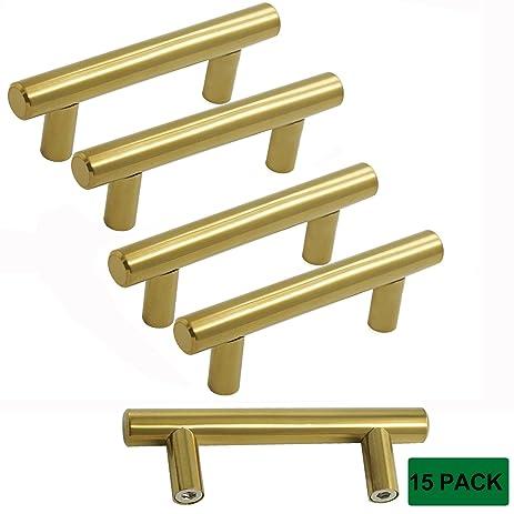 probrico kitchen cabinet bar knobs bathroom brushed brass drawer handles dresser gold bar pulls set hole