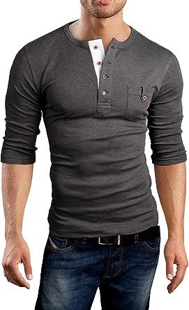 78c7e753c Grin Bear Men s slim fit 3 4 Sleeve Henley Shirt T-Shirt