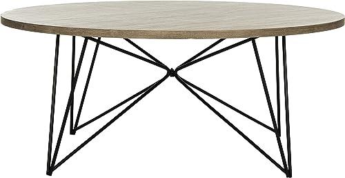 Safavieh Home Collection Maris Modern Light Brown Round Hairpin Leg Coffee Table