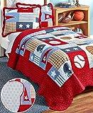 American Boys Sports, Football, Baseball, Basketball Twin Quilt & Sham Set (2 Piece Bedding) + HOMEMADE WAX MELTS
