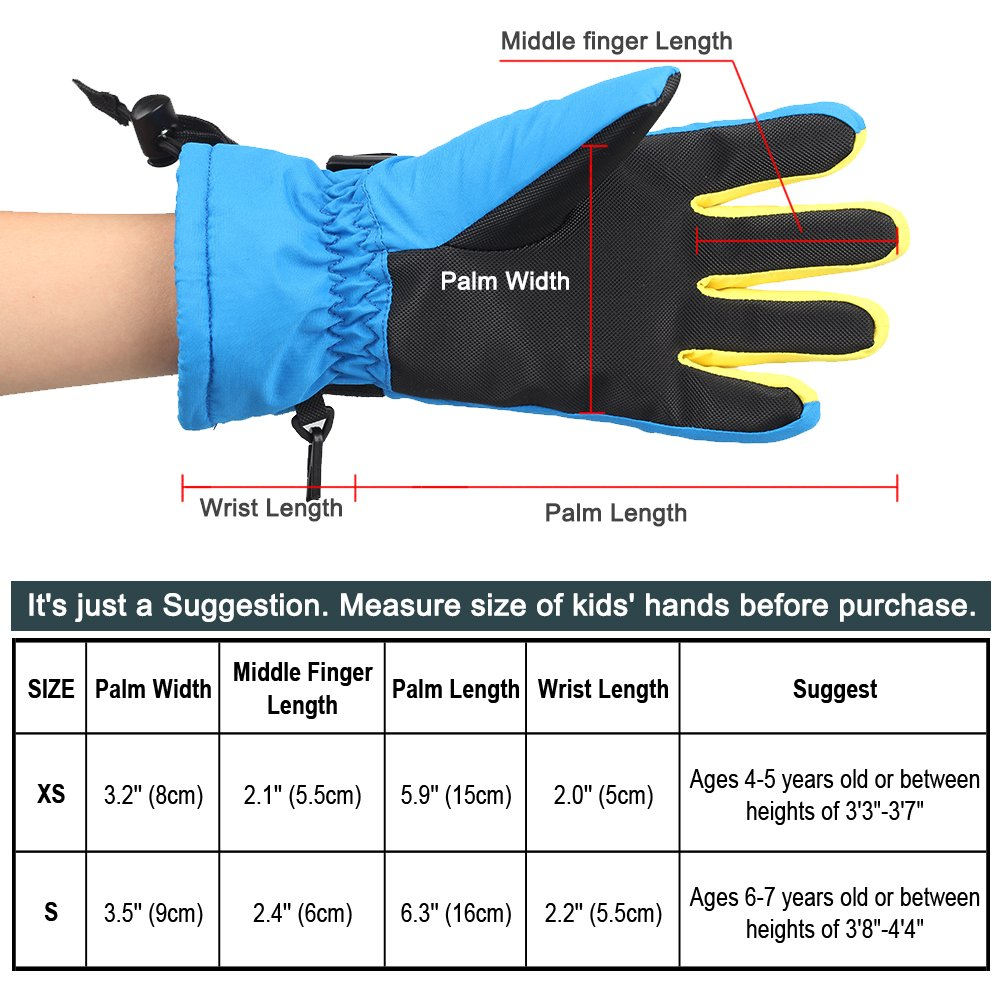 MAGARROW Boys and Girls Warm Windproof Snowboard Gloves Water Resistant Outdoor Ski Gloves