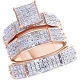 Jewel Zone US White Natural Diamond Engagement & Wedding Trio Bridal Ring Set In 10k Solid Gold (0.55 Ct)