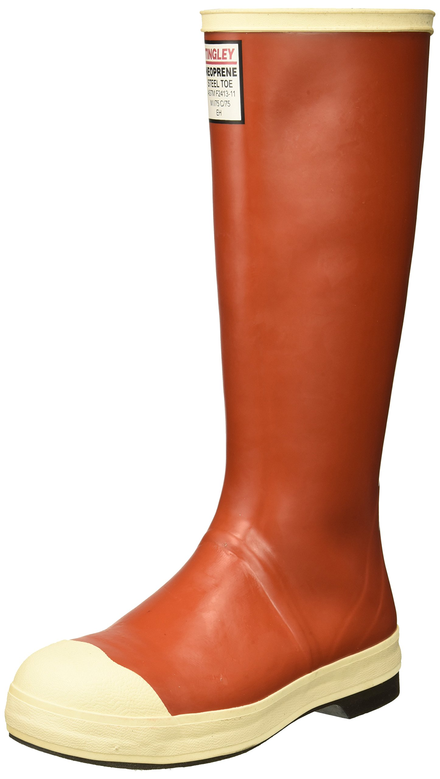 TINGLEY MB921B.06 16'' Chevron Outsole Neoprene Boot with Fabric Liner Plain Toe, Size 06, Brick Red/Brown