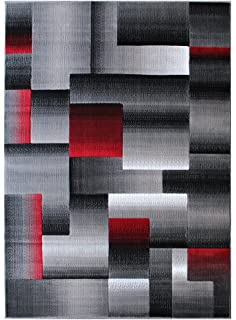 Amazoncom Masada Rugs Modern Contemporary Area Rug Red Grey