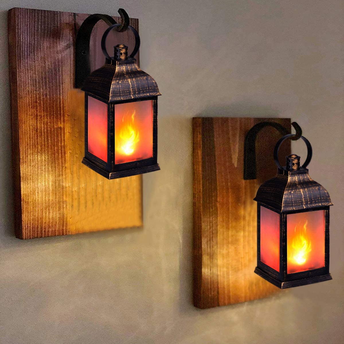 Set of 4 Indoor Lanterns Decorative,Outdoor Hanging Lantern,Decorative Lanterns Golden Brushed Black,Remote Timer zkee 11 Vintage Style Decorative Lantern,Flame Effect LED Lantern,