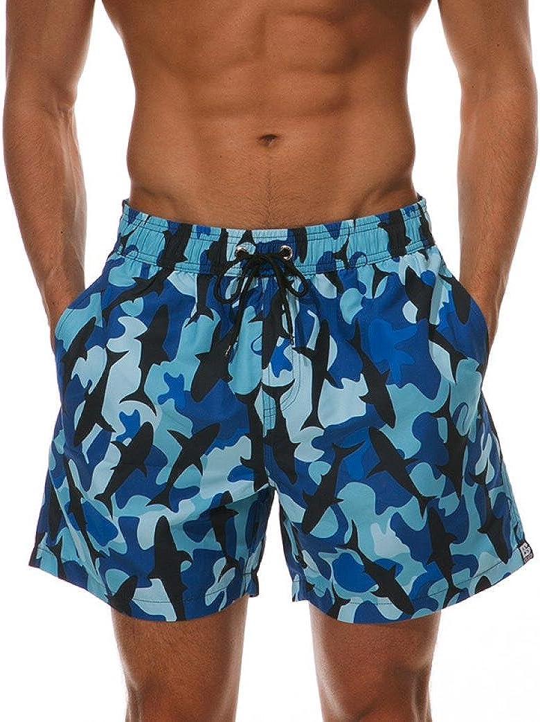 RAISINGTOP Men Swimwear Surf Sports Quick Dry Beach Board Shorts Camo Bermudas Athletic Trunks Big and Tall Pants Loose Fit