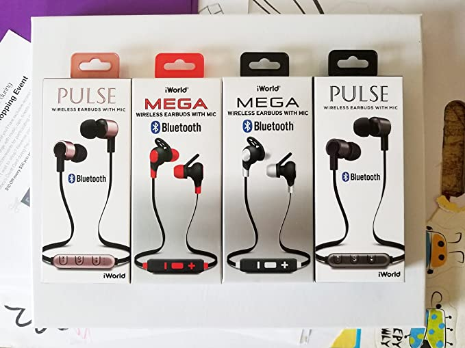 070f09de382 Amazon.com: iWorld Pulse Wireless Bluetooth Earbuds with Microphone -  Titanium: Home Audio & Theater