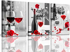 Kitchen Pictures Wall Decor Red Wine Black and White Bottle Red Rose Wine Glass 3 Pieces Canvas Wall Art for Dining Room Kitchen Artwork for Home Walls Decorations Gallery Wrapped 12x16inchx3pcs