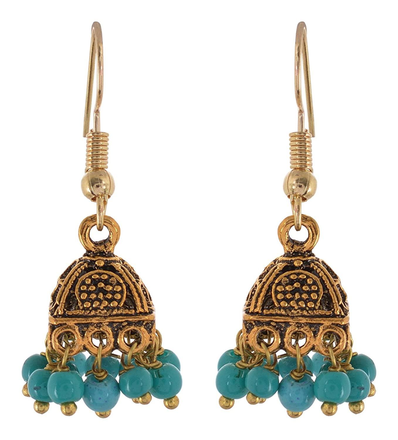 Subharpit Turquouise Small Beauty Little Charm Metal Jhumki Earring for Woman /& Girls