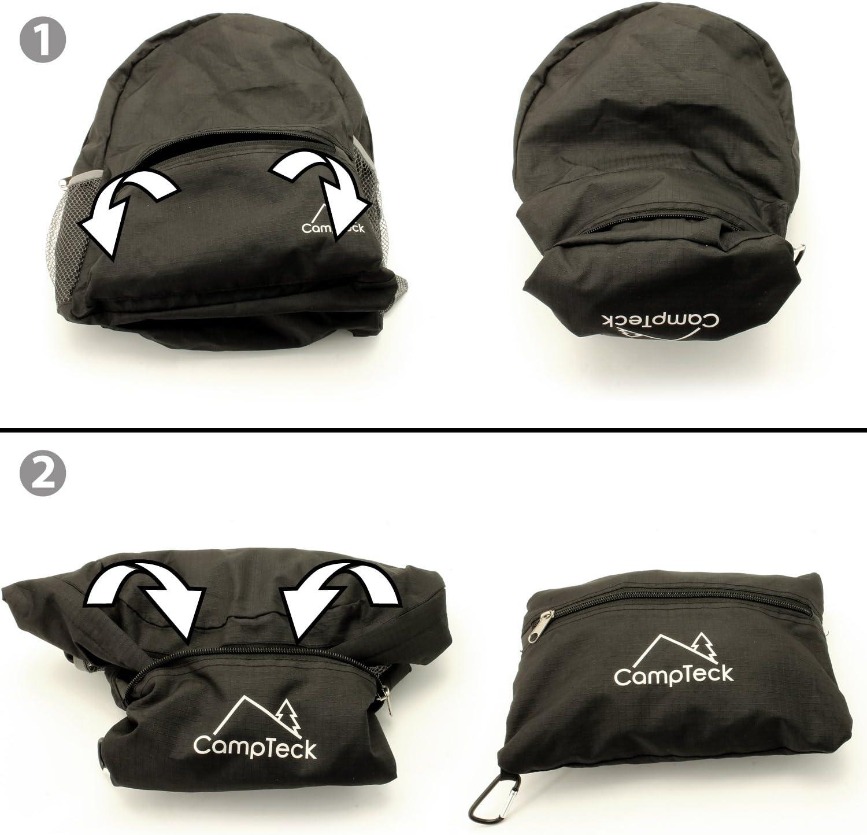 Vacaciones 16 Litros Negro CampTeck Mochila Plegable Bolsa Ultraligera para Camping Daypack y otras Actividades al Aire Libre Viajes Senderismo,Trekking