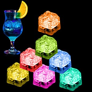 Nonley Light Up Ice Cubes Bulk with 7 Color Light Settings, 12 Pack Led Ice cubes for Drinks Color Changing Ice Cubes Colorful Liquid Sensor Lights Cubes for Party Wedding Bars Christmas Decor
